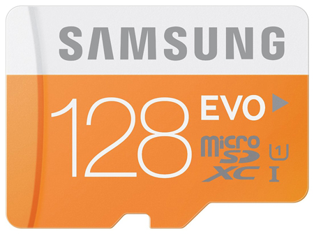 2. Samsung EVO Micro SDXC with Adapter, Model: MB-MP128DA/AM