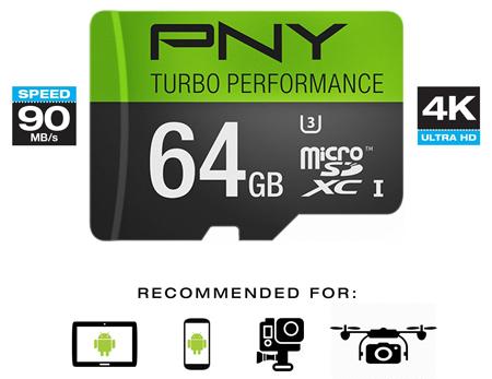 13. PNY U3 Turbo Performance High Speed Flash Card, Model: P-SDUX64U390G-GE