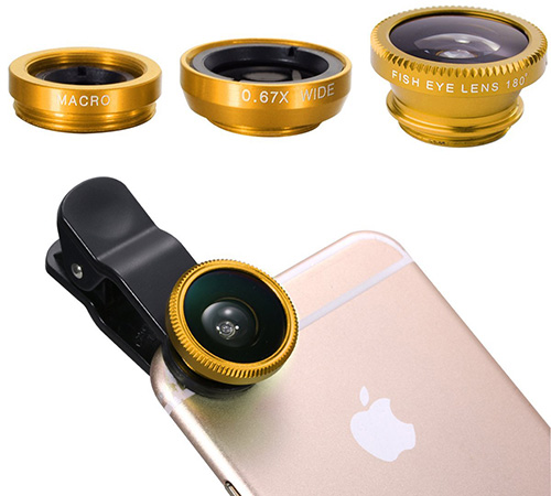 26. XCSOURCE 3in1 Fish Eye + Wide Angle Macro Lens Phone Camera Kit Golden for iPhone 6 and Samsung Galaxy Series