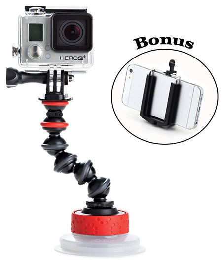6. Joby Universal Action Camera Suction Cup & GorillaPod Arm