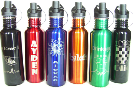 3. Laser Engraved Water Bottle by AlphaNumeric Engravers