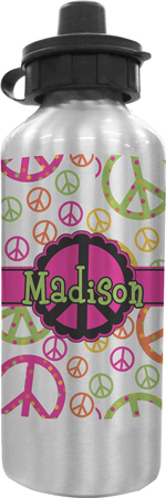 4. Peace Sign Personalized Water Bottle by RNK Shops