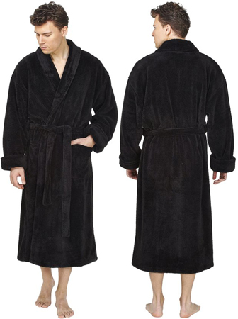 9. Arus Men's Shawl Fleece Plush Robe