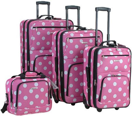 48. Rockland Luggage Dots 4 Piece Luggage Set