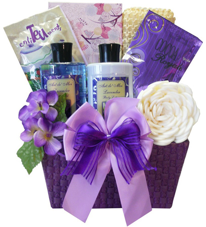 13. Art of Appreciation Gift Baskets Tranquil Delights Lavender Spa Bath and Body Set