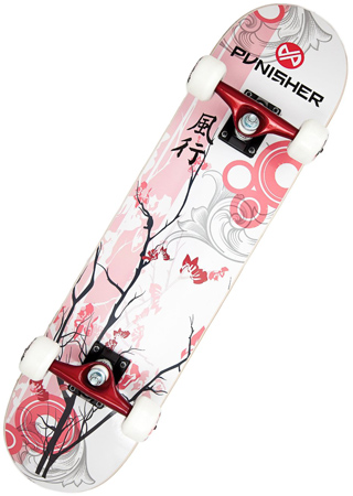 25. Punisher Cherry Blossom Complete Skateboard, Red, 31-Inch