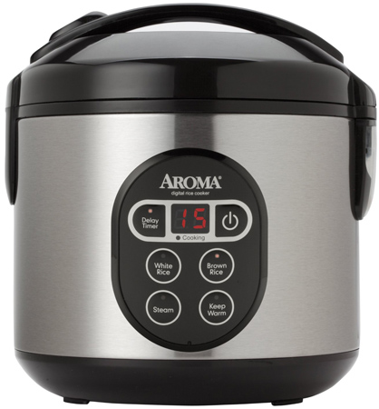 40. Aroma 8-Cup (Cooked) Digital Rice Cooker and Food Steamer, Stainless Steel
