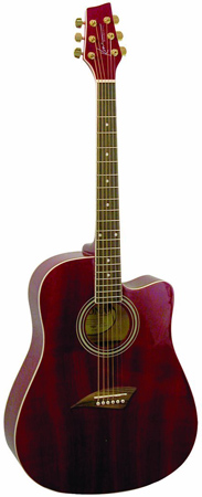 24. Kona Acoustic Guitar; Model K1TRD in Red