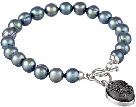 25. Honora Rock Star Freshwater Cultured Pearl and Black Agate Bracelet