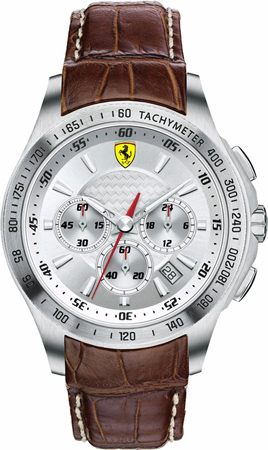 48. Ferrari Scuderia Chronograph Silver Dial Brown Leather Mens Watch 830044