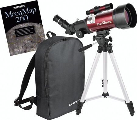 8. Orion 10034 GoScope II 70mm Refractor Travel Telescope Moon Kit (Burgundy)