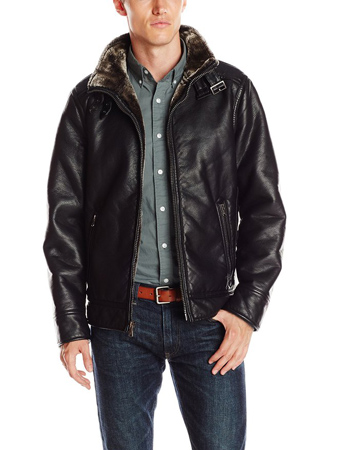 1. Calvin Klein Men's Pebbled Faux-Leather Moto Jacket with Faux-Shearling Collar