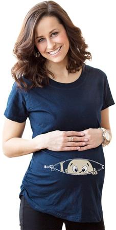 45. Women's Caucasian Baby Peeking T Shirt Funny Maternity Tee