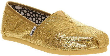 1. Toms Women's Gold Glitters Slip-On Shoes
