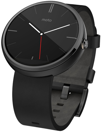 30. Motorola Moto 360 Black Leather Smart Watch