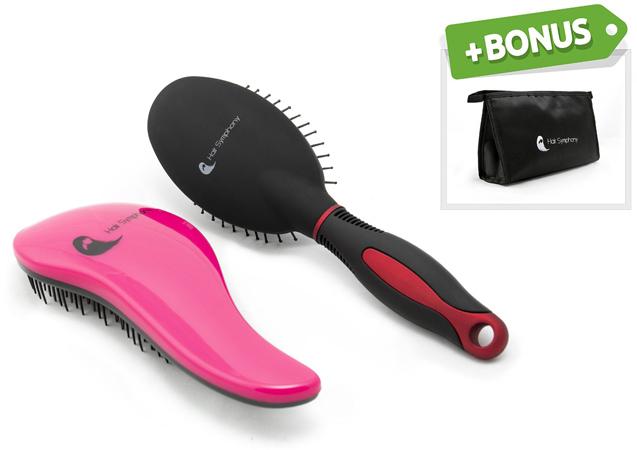 7. Hair Symphony Detangling Brush, Black Satin Wet Hair Brush and Travel Cosmetics Bag
