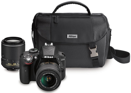 19. Nikon Camera with Zoom Lenses and Case, Model D3300 DX-format