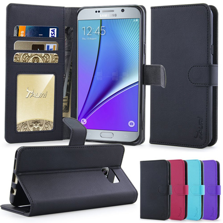 5. Leather Wallet Case with Stand