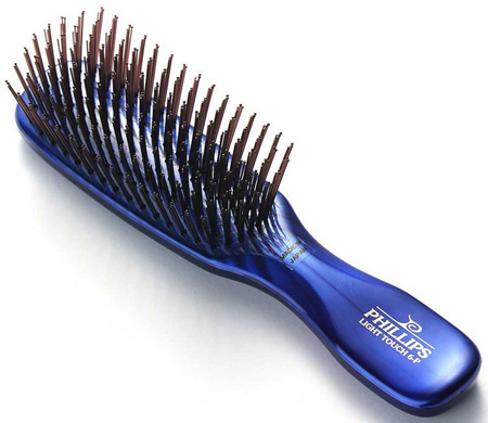 6. Phillips Gem Collection Light Touch 6 Hair Brush in Sapphire Blue
