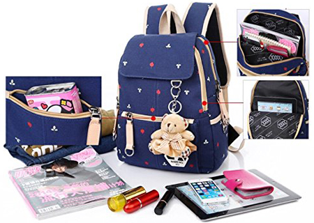 8. Women Girl Vintage Cute Flower Floral Bag Schoolbag Bookbag Backpack