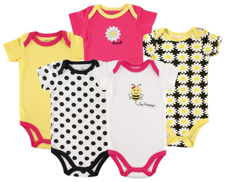 2. Luvable Friends Bold Colors Hanging Bodysuits, 5 Pack