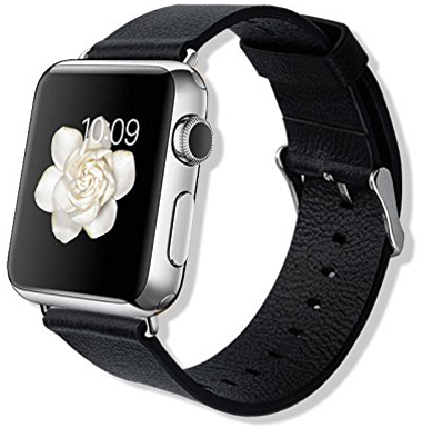 4. Leather Wrist Watch Band for Apple Watch by Hi5Gadget