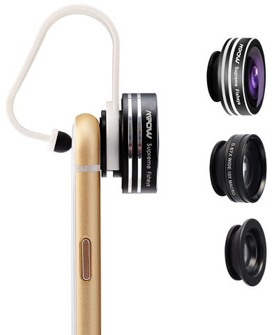 11. Mpow 3In 1 Clip-On 180 Degree Supreme Fisheye+0.65X Wide Angle+10 X Macro Lens