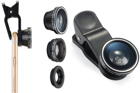 12. [Upgrated] VicTsing Clip-On 180 Degree Lens Clip Fisheye+Wide Angle+Macro Lens