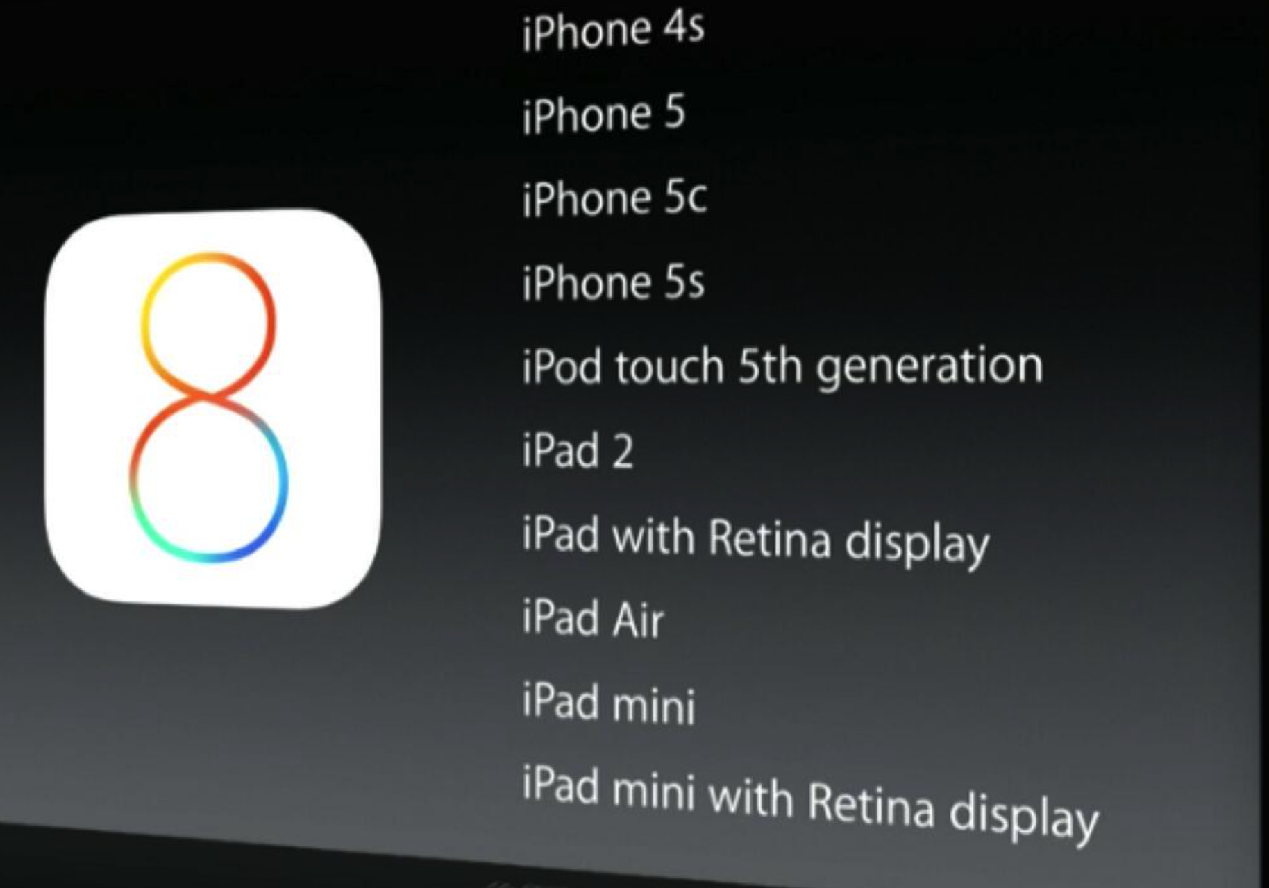 ios 8 official supported devices