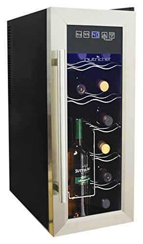 nutrichef 12 bottle thermoelectric wine cooler    chiller