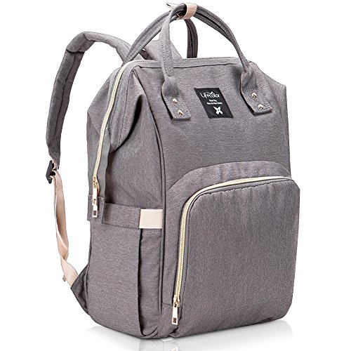 Lifecolor Diaper Bag Multi-functional Nappy Bags Waterproof Travel Mom Backpack for Baby Care, Large Capacity, Stylish and Durable(Gray)